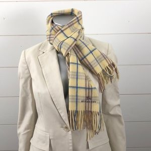 Burberry London yellow check lambswool scarf